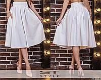Женская юбка миди молочного цвета