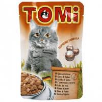 TOMi goose liver ГУСЬ ПЕЧЕНЬ консервы для кошек, влажный корм, пауч 100гр