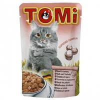 TOMi veal turkey МЯСО ИНДЕЙКА консервы для кошек, влажный корм, пауч 100гр