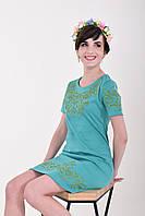 Вышитое платье с модными разворачивающимися зелеными узорами