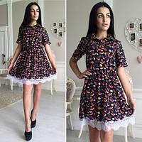 """Платье яркое короткое с пышной юбкой из коттона """"Арбузы"""" разные цвета SMok304"""
