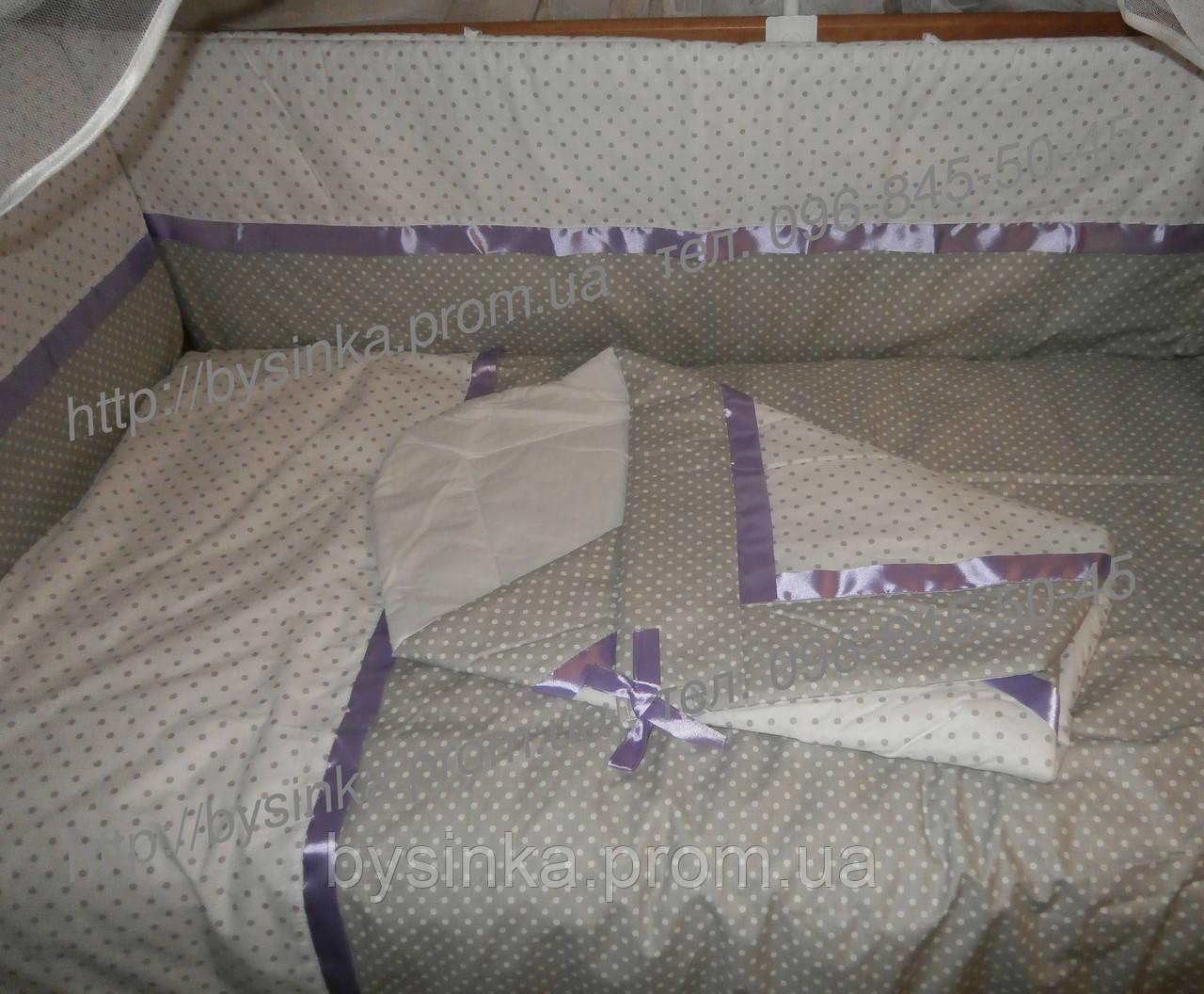 Детское постельное белье в кроватку из 9 ед. (горох+горох). В наборе конверт на выписку