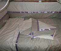Детское постельное белье в кроватку из 9 ед. (горох+горох). В наборе конверт на выписку , фото 1