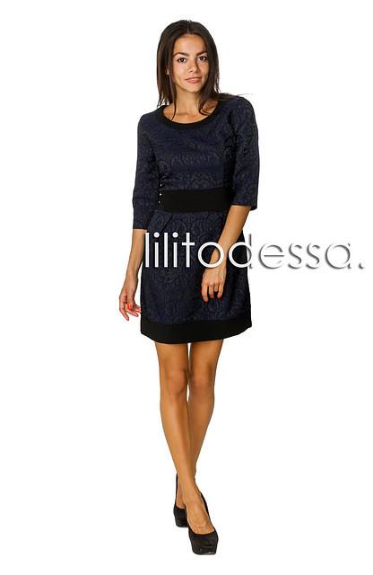 Платье жаккардовое темно-синий