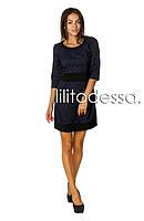 Платье жаккардовое темно-синий, фото 1