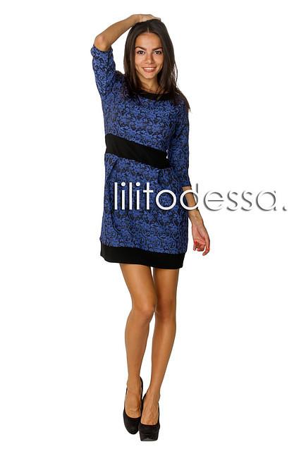 Платье жаккардовое синий