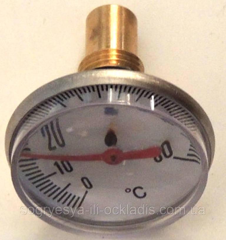 """Термометр води занурювальний (покажчик температури) для котлів, під різьблення"""" 12 мм, діаметр 40 мм, код сайту 5000"""