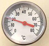 """Термометр води занурювальний (покажчик температури) для котлів, під різьблення"""" 12 мм, діаметр 40 мм, код сайту 5000, фото 2"""