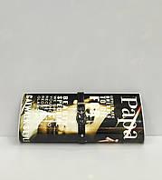 """Женская сумка клатч """"Paparazzi"""" 1619 в черных тонах, с рисунком """" брюнетка"""""""