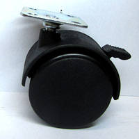 Ролик мебельный поворотный пластиковый со стопором Д-50 мм