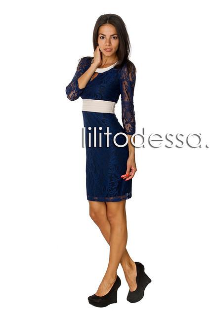 Платье гипюровое темно-синий