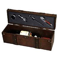 Дерев'яна коробка для вина з елементами винного набору