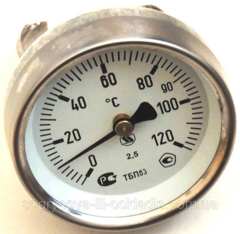 """Термометр воды накладной (указатель температуры) для котлов, под """"клипсу"""" 50 мм, диаметр 65 мм, код сайта 5003"""