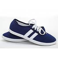 """Мокасины женские """"Gipanis"""" синего цвета на шнурках"""