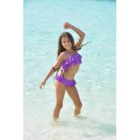Дизайнерский купальник для девочки раздельный из бифлекса со стразами