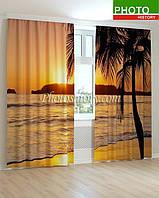 Фотошторы пальма на закате 3D