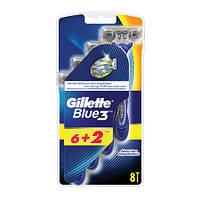Чоловічі станки для гоління Gillette Blue 3 з трьома лезами 8 шт