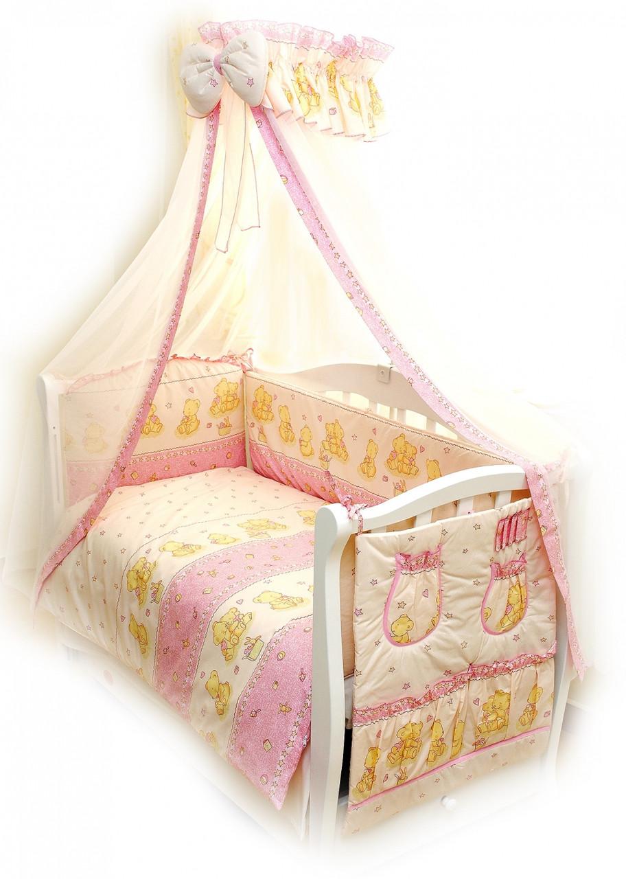 Детский постельный комплект Comfort «Мишки со зведами» (Розовый, С-016, 8 элементов), Twins