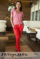 Женский модный костюм футболка серая брюки лен красные