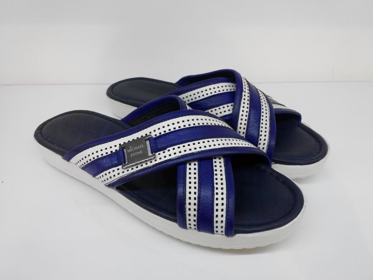 Шлепанцы Etor 630-132-578 бело-синие