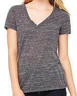 Футболка Bella + Canvas Women's Jersey Deep V-Neck Tee Charcoal Marble