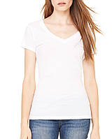 Футболка Bella + Canvas Women's Tissue Jersey Deep V-Neck Tee White