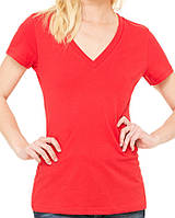 Футболка Bella + Canvas Women's Jersey Deep V-Neck Tee Red