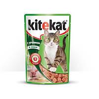 Kitekat паучи для кошек с кроликом в соусе 100 гр