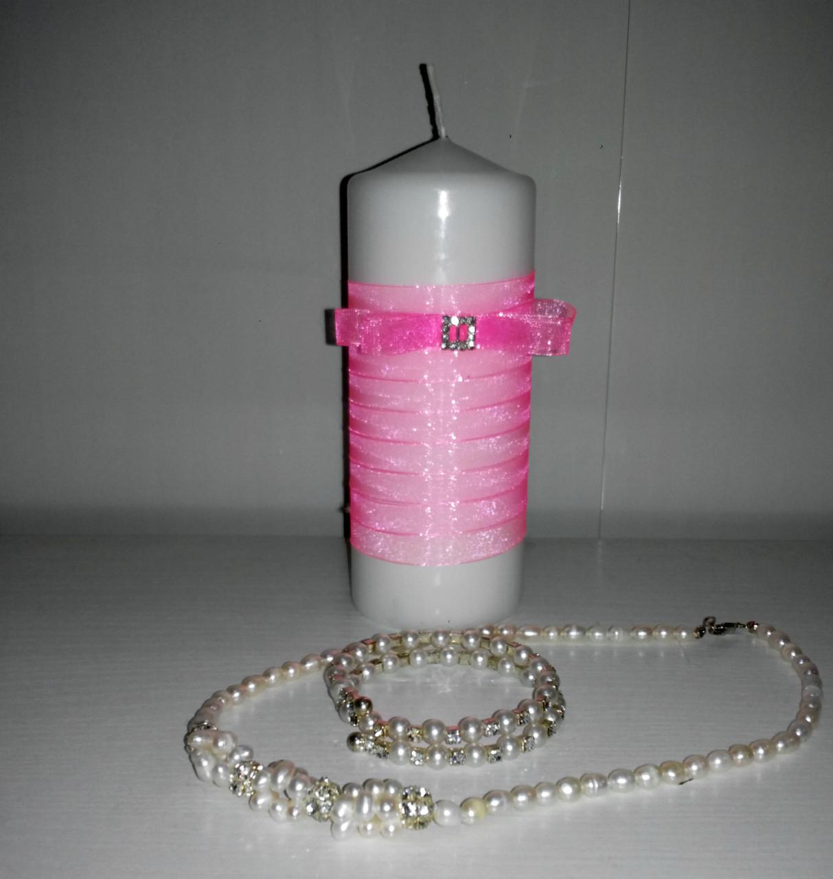 Свадебная свеча ручной работы розовый