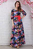Нарядное длинное платье из креп-шифона модной расцветки вырез горловины капелькой