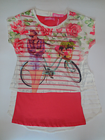 Детская туника велосипед для девочек,  двойка