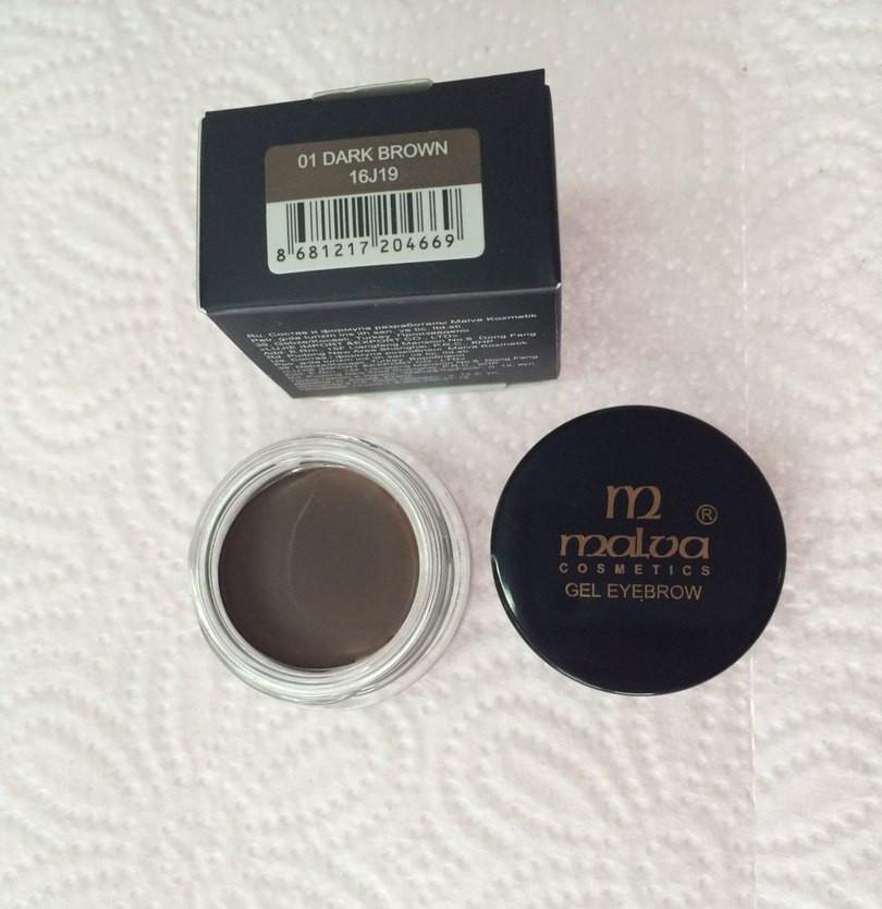 Помада для брів Malva Gel Eyebrow M-481 Тон 01 - dark brown, темний коричневий