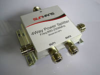Сплиттер Разветвитель сигнала 1in 4out N типа 380-2500MHz, фото 1
