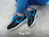 Женские стильные кроссовки Nike Cortez черные с синим 36 размер