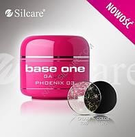 Прозрачный гель с микроблестками Base One Phoenix 03  (разлив)