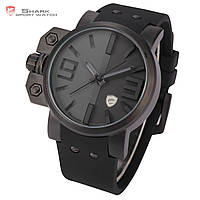 Мужские наручные часы Shark Black Over-sized Crown Silicone Quartz Army Wrist Men Sport Watch