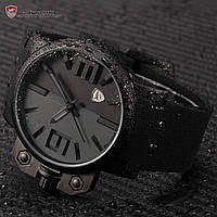 Мужские наручные часы Shark Black Over-sized Crown Silicone Quartz Army Wrist Men Sport Watch