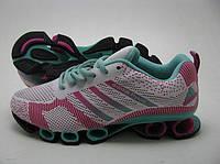 Кроссовки Adidas Flyknit белые с бирюзой 86009