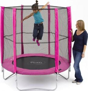 Розовый батут для детей Plum 183 cм. с сеткой