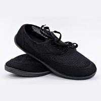 Мокасины мужские черные сетка на шнурках Гипанис
