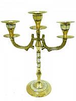 Подсвечник латунный на 3 свечи с перламутром (пл-26)