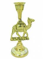 Подсвечник латунный с перламутром и лошадью/верблюдом  (пл-20)