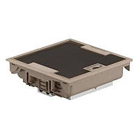 Коробка напольная бежевая 12 модулей, крышка для коврового/паркетного покрытия