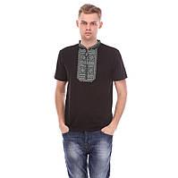 Черная мужская трикотажная вышиванка, национальная одежда
