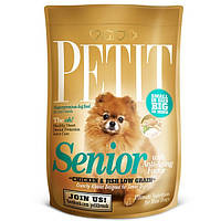 Корм Petit Senior with Anti-Aging Factor для стареющих собак мелких пород с курицей и рыбой, 1,5 кг