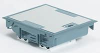 Коробка напольная серая 12 модулей, крышка из стали с антикоррозионным покрытием