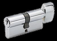 Евроцилиндр для дверей LINDE A5E 30/30Т (английский ключ/тумблер) СР полированный хром