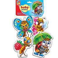 Беби пазл мягкий для малышей Забавные насекомые  (4шт. в наборе) Vladi Toys VT 1106-06 .