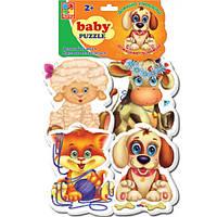 Беби пазл мягкий для малышей Домашние любимцы  (4шт. в наборе) Vladi Toys VT 1106-07.