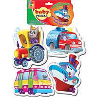 Беби пазл мягкий для малышей Машины-помощники  (4шт. в наборе) Vladi Toys VT 1106-08 .